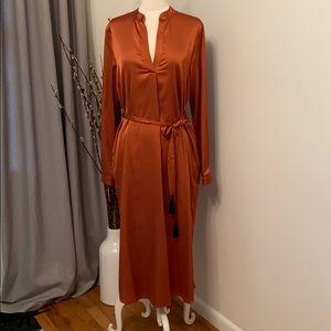 Copper Satin Midi Dress